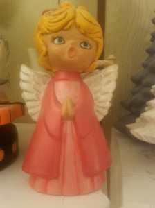 angel praying (large old) red satin