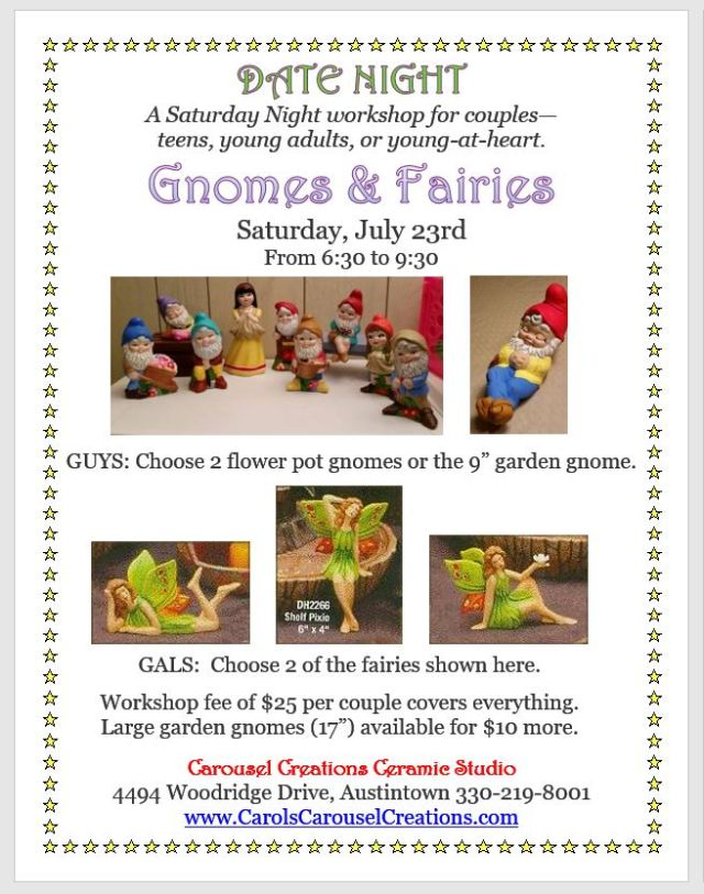 Date Night Gnomes & Fairies WS poster for 7-23-16