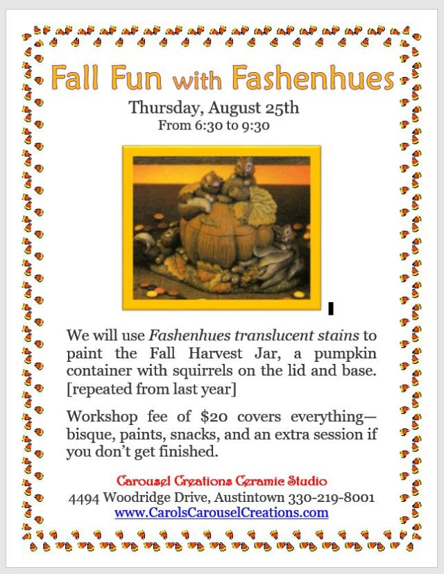 Fall Fun with Fashenhues WS poster for 8-25-16