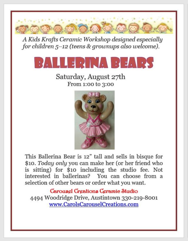 KK Ballerina Bears poster for 8-27-16