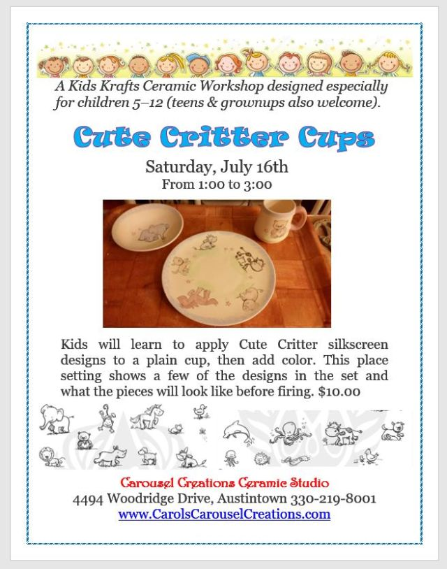 KK Cute Critter Cups WS poster for 7-16-16