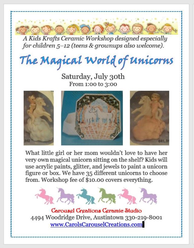 KK The Magical World of Unicorns WS poster for 7-30-16