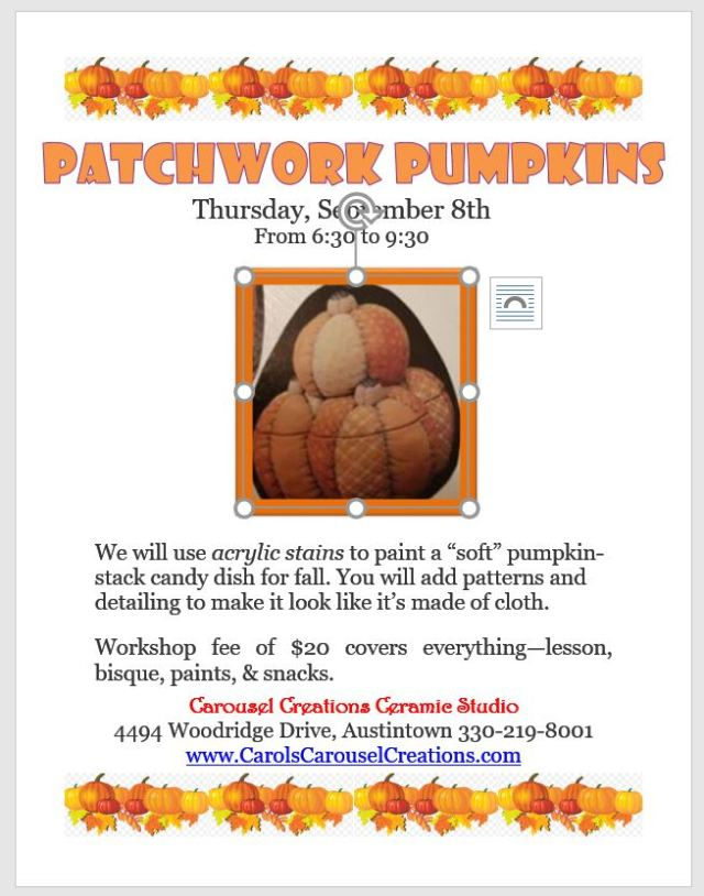 Patchwork Pumpkins WS poster for 9-8-16