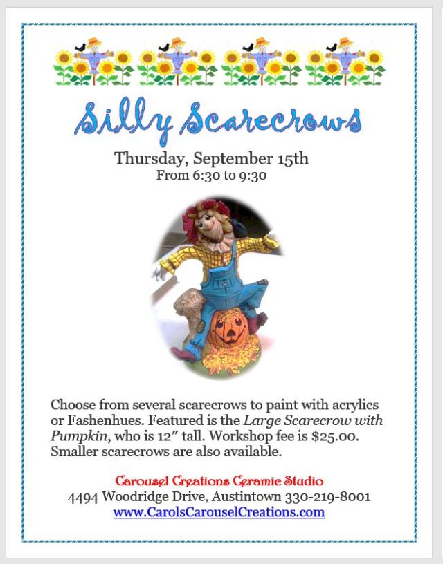 Silly Scarecrows WSposter for 9-15-16