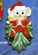 Alberta Ornaments 0167 mouse on holly leaf
