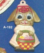 Alberta Ornaments 0192 girl bunny with basket