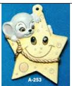 Alberta Ornaments 0253 mouse on cheese star