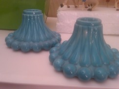 candlestick holders blue knobby