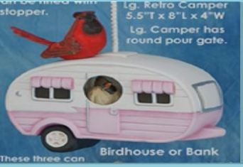Clay Magic 3858 large retro camper birdhouse