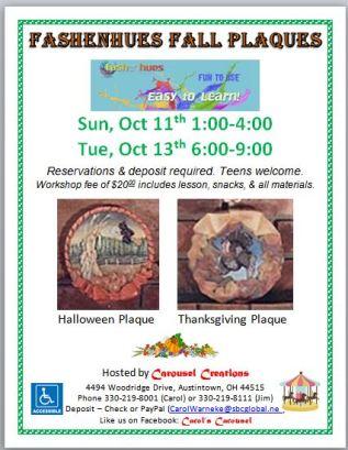 Fall Fashenhues Plaques 2015 (10-11 & 10-13)