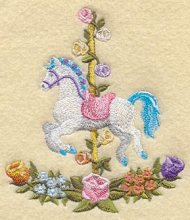 Jumping Carousel Horse wFlowers
