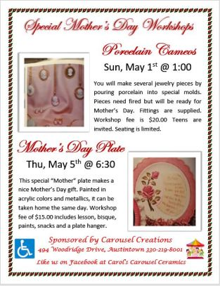Mothers Day Workshops 5-1 & 5-5-16