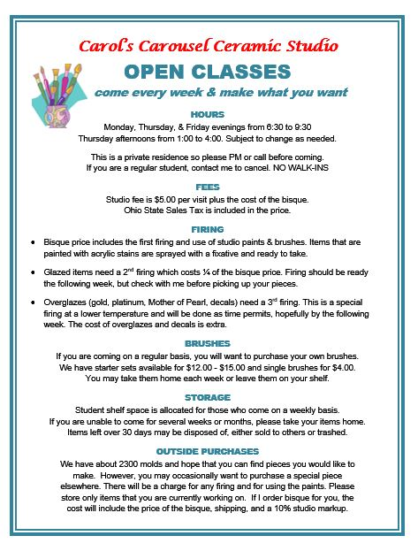 OPEN CLASSES POSTER