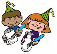 party boy and girl painting pottery with hats on.jpg