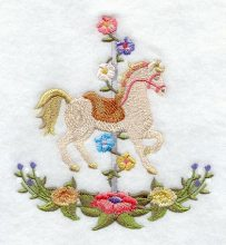 Prancing Carousel Horse wFlowers