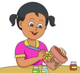 clipart girl painting ceramics