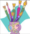 clipart paint brushes in vase