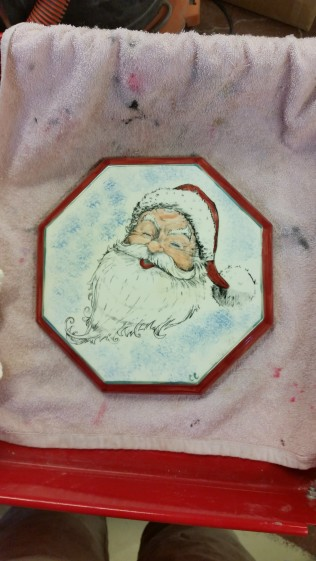 Kinzie 0129 Silkscreen Santa on Octagon Plaque (or base or trivet)