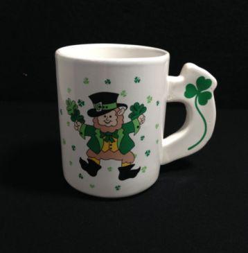 leprechaun painted coffee mug