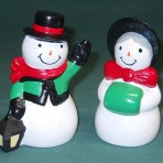 Mr & Mrs Snowman salt & pepper shakers