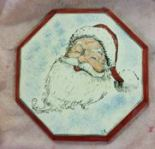 Santa Silkscreen on Octagon Plate
