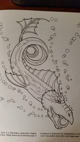 dragon drawing Polynesian underwater dragon called a Moo