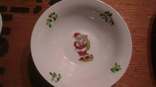 Carols Santa bowl with holly decals