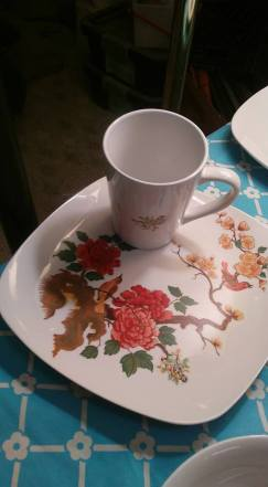 Harriets flowers & birds plate and cup decals