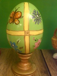 Duncan 0487 large egg (folk art) with stand CC