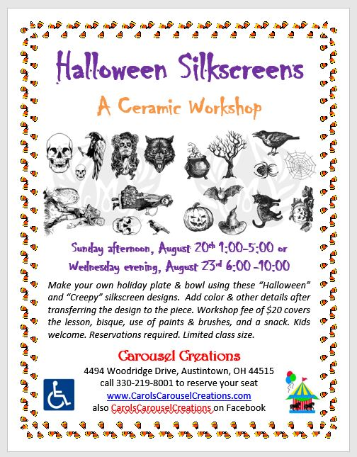 Halloween Silkscreens WS POSTER 8-20& 8-23-17