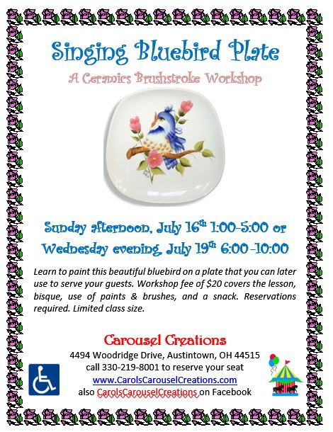 singing bluebird plate WS POSTER 7-16 & 7-19-17