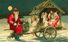 clipart old world santa scene