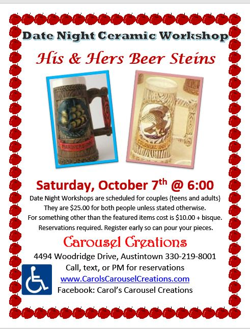 DATE NIGHT 10-7-2017 BEER STEINS