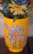 Alberta 0256 Small Bell Vase Planter yellow with flowers