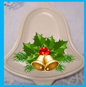 bell plate with holly