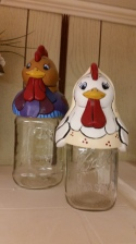 ROOSTER & HEN JAR LID COVERS