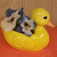 rubber duck planter CC (yellow glaze)