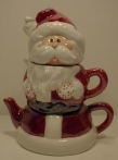 santa teapot in red