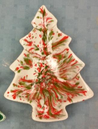 small tree tray Merry Christmas glaze CC