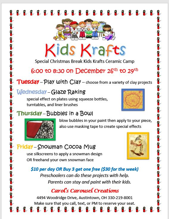 Special Christmas Break Kids Krafts Camp 2017