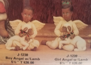 Clay Magic1238 & 1239 AfAm boy & girl angels with lambs