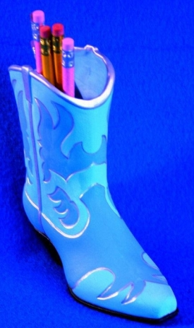 cowboy boot pencil holder