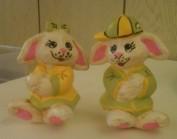 Dona 1381 Boy & Girl Bunnies w baseball hat CC