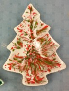 Duncan 203A small tree candy dish Merry Christmas glaze CC