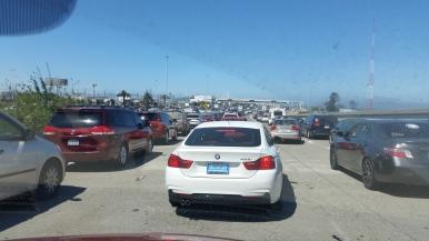 twenty lanes before the toll gate SF bay bridge