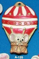 Alberta Ornaments 0125 Mouse in Hot Air Balloon