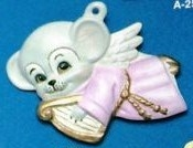 Alberta Ornaments 0255 angel mouse with harp