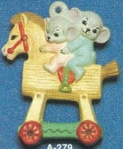 Alberta Ornaments 0279 mice on wooden horse with wheels