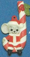 Alberta Ornaments 0281 Santa mouse on candy cane
