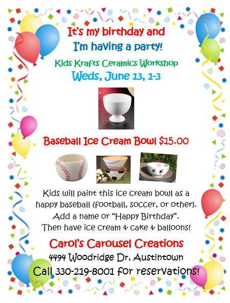 KK 6-13-2018 Baseball Ice Cream Bowl POSTER